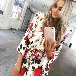 Pants - 💥 CLEARANCE Bell Sleeve Rose Floral Deep V Romper